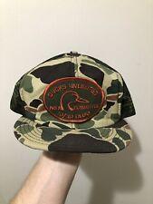 Vintage 70s 80s Ducks Unlimited Patch Camo Snapback Trucker Hat Cap By DeLong