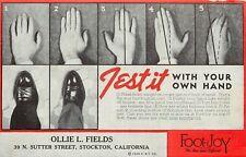 Vintage Advertising Blotter, Foot Joy Men's Shoes, Ollie Fields Shop Stockton CA