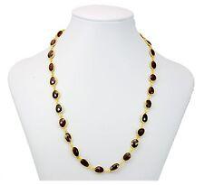 Red Garnet Necklace Large Faceted Link Bezel Set 14k Gold Fill and Plate 24 Inch