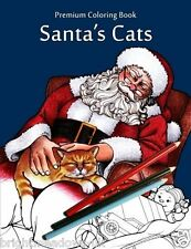 Santas Cats Adult Colouring Book Winter Christmas Gift Kittens Elves 1 Sided Art