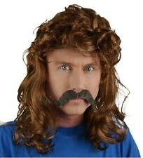 Men's Fancy Dress Brown Mullet Wig & Handlebar  Moustache 80's Movie, Disco, UK