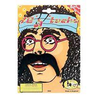 Black 70's Hippy Hippie Moustache Tash Fancy Dress Costume Accessory