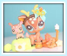 ❤️Littlest Pet Shop LPS Mommy & Baby Deer #2499 & #2500 Accessories CUTEST LOT❤️