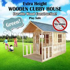 Extra Height Outdoor Playhouse Wooden Cubby House + Windows Verandah MEL