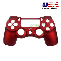 Soft Touch Red Front Housing Shell Faceplate Replacement Part for PS4 Controller