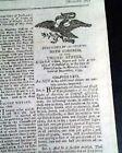 President JOHN ADAMS Annual State of the Union Address 1800 American Newspaper