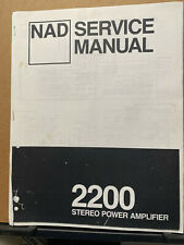 Service Manual for the NAD 2200 Amplifier~ Factory Reprint ~ Repair