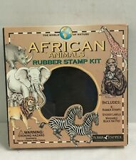 Rubber Stamp Kit African Animals Set 6 pc Rubber Stampede 2001 Stamping Craft