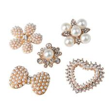 5pcs Assorted Crystal Pearl Flatback Buttons for Jewelry Making DIY Craft