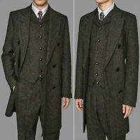 3 Pieces Coffee Herringbone Men's Suits Tweed Long Peak Lapel Formal Overcoat