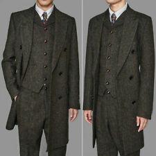 3 Pieces Coffee Herringbone Men's Suits Tweed Long Peak Lapel Formal Overcoat