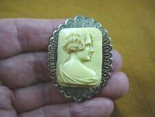 (CM45-15) UNUSUAL ART DECO Style LADY ivory rectangle CAMEO Pin Pendant JEWELRY