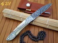 HAND FORGED DAMASCUS STEEL FOLDING POCKET KNIFE W/ BONE HANDLE - AJ 217