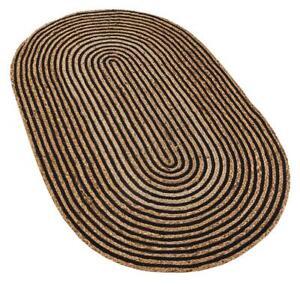 Rug 100% Natural braided jute reversible handmade Oval Rug rustic look decor rug