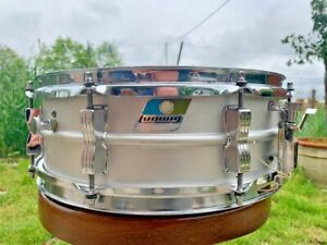 """Ludwig LM404 Acrolite 5x14"""" Aluminum Snare with Blue/Olive Pointy Badge 1978"""