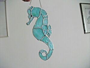 Stained Glass handmade Wispy jade seahorse sun-catcher's / window decoration's