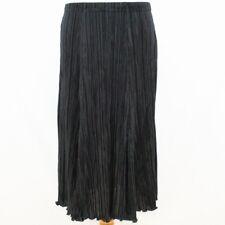 CLASSICS  Skirt UK 14 Black Satin Fine Pleated Womens Midi High Waist Going Out