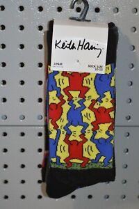 New Keith Haring 3 Pair Pack Socks sz 10-13 Large Vintage 1980s Art Socks Rare