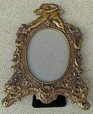 "Peti Cadeau Oval Frame 9.5"" x 6.5"" Ornate Crystals Victorian Cherubs Angels Gold"