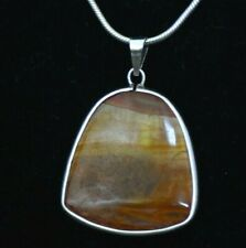 BEAUTIFUL STERLING SILVER NECKLACE - 19 INCH - AGATE PENDANT LARGE