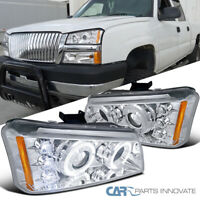 For Chevy 03-07 Silverado Avalanche Pickup Halo Projector Headlights Head Lamps