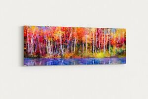 oil painting landscape autumn trees artwork nature abstract canvas picture print
