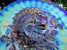 Northwood PEACOCKS ANTIQUE CARNIVAL ART GLASS PLATE~ELECTRIC PURPLE~MAGNIFICENT!