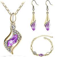 Elegant Women's Gold Silver Crystal Jewelry Set Necklace Hook Earrings Bracelet