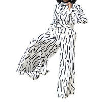 Fashion Women's Long Sleeves Printed Zipper Club Party Wide Legs Jumpsuit New