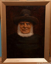 VICTORIAN OIL ON BOARD PAINTING OF AN AMISH MAN