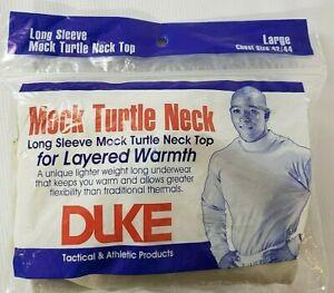 Mens 2009 DUKE Mock Neck Turtleneck Long Sleeve Shirt Cream Made In USA Size L