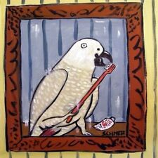 African Grey Parrot Brushing Beak Teet Art Tile Coaster Gifts Artwork Modern