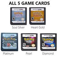 5 pcs Pokemon Platinum Diamond HeartGold SoulSilver Game Cards 3DS NDSI XL