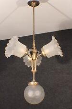 Deckenlampe 3-armig, Messingguss Milchglasschirmen Lampenkugel Gründerzeit #1447