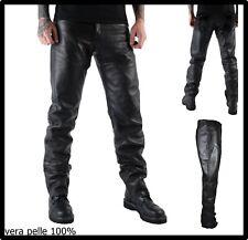 pantaloni in pelle vera da uomo pantalone moto per motociclista vintage neri 52