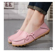 Women Lady Genuine Leather Comfy Casual Bowed Flat Shoes Moccasin Soft Loafers