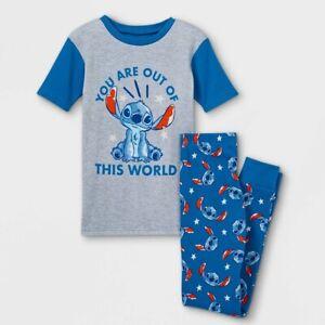 DISNEY Lilo & Stitch Pajamas Size 4 6 8 Boys 100% Cotton Top and Pants Girls NEW