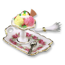 Dollhouse Miniature Porcelain Rose Tray Ice Cream Sundae From Reutter of Germany
