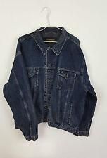 VINTAGE Retrò WRANGLER blu scuro slavato OVERSIZE Festival Giacca di Jeans in buonissima condizione UK L