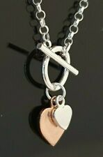 """Ladies 925 Sterling Silver & Rose Gold Plated Double Heart Pendant Necklace 16"""""""