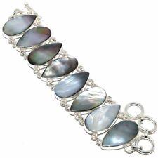 "Mother Of Pearl Gemstone Handmade 925 Sterling Silver Bracelet 6-9"""