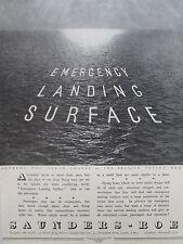 5/46 PUB SAUNDERS-ROE BRITISH FLYING BOAT EMERGENCY LANDING SURFACE ORIGINAL AD