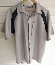 Quiksilver Men's Beige-Grey Grey & Blue Short-Sleeve Shirt / Top - Size L