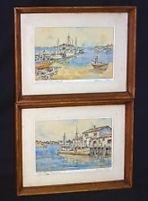 """2x 1910s Texas WC Paintings """"Maine & Provincetown"""" by S. Seymoure Thomas (AnL)"""