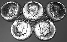 (5) 1964 P  Kennedy Silver Half-Dollars - Lightly circulated brilliant coins K5A