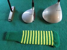 Knitted zebra style Fairway & Driver Golf Club head cover Kelly Green / Yellow