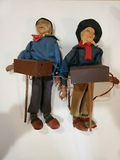 Stockinette Doll Pair Old Man Woman music grinder Ravca Molded Cloth1930s