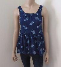 Hollister Womens Tank Top Shirt Size XS Navy Blue Pineapples Blouse