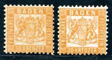 BADEN 1862 22a,b ** POSTFRISCH 30 KREUZER WERTE 660€(S1793