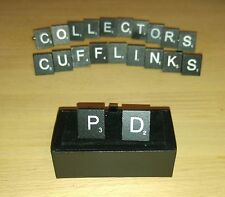 Pair of Black Scrabble Cufflinks in a gift box - Choice of letters. Free postage